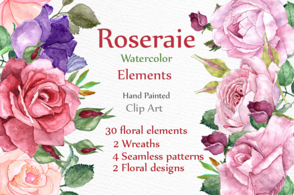 Watercolor Roses Clipart Graphic Illustrations By LeCoqDesign