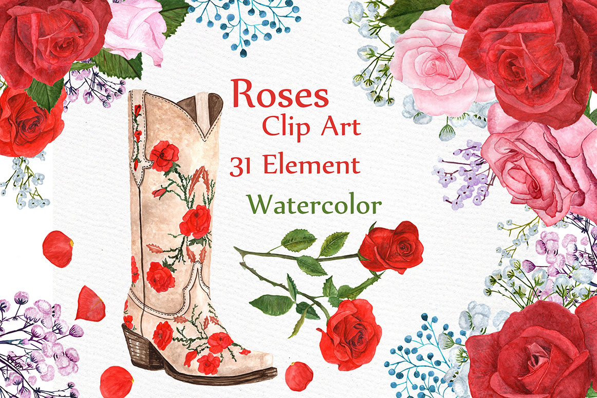 Watercolor Roses Clipart. SVG File