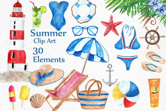 Watercolor Nautical Summer Clipart Graphic Illustrations By LeCoqDesign