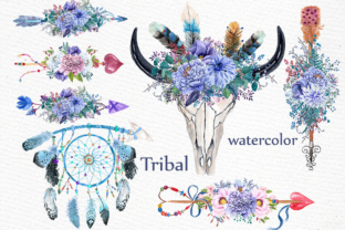 Download Free Watercolor Tribal Clipart Graphic By Lecoqdesign Creative Fabrica for Cricut Explore, Silhouette and other cutting machines.