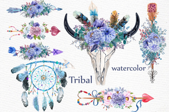 Watercolor Tribal Clipart Graphic Illustrations By LeCoqDesign