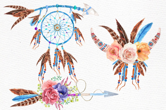 Watercolor Tribal Clipart Graphic Illustrations By LeCoqDesign - Image 2