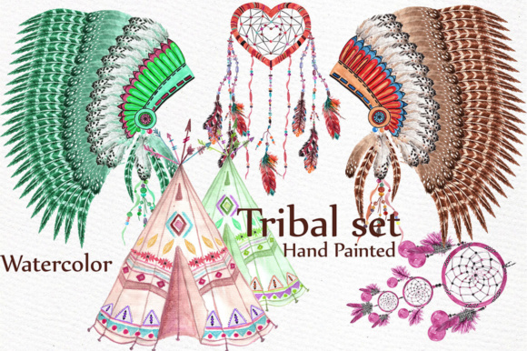 Download Free Watercolor Tribal Clip Art Set Graphic By Lecoqdesign Creative for Cricut Explore, Silhouette and other cutting machines.