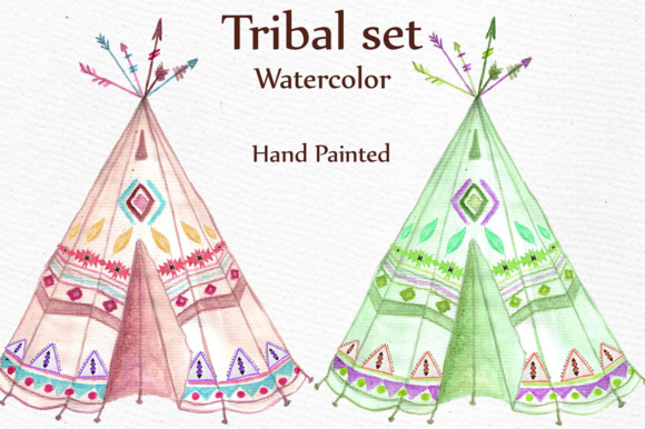 Watercolor Tribal Clip Art Set Graphic Illustrations By LeCoqDesign - Image 2