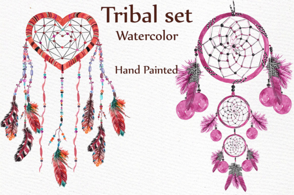 Watercolor Tribal Clip Art Set Graphic Illustrations By LeCoqDesign - Image 3
