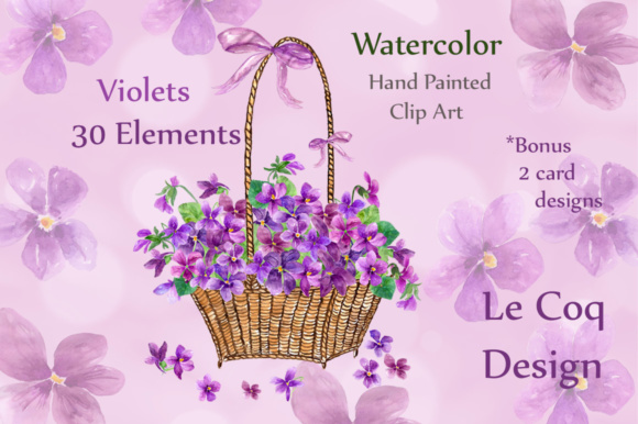 Watercolor Violet Flowers Clipart Graphic Illustrations By LeCoqDesign