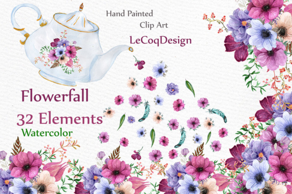 Download Free Watercolor Wedding Flowers Clipart Graphic By Lecoqdesign for Cricut Explore, Silhouette and other cutting machines.
