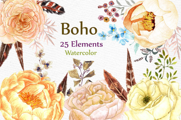 Watercolor Boho Wedding Floral Clip Art Set Graphic Illustrations By LeCoqDesign