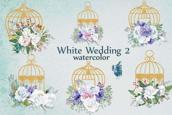 Download Free Watercolor White Flowers Clip Art White Peonies Floral Birdcage for Cricut Explore, Silhouette and other cutting machines.