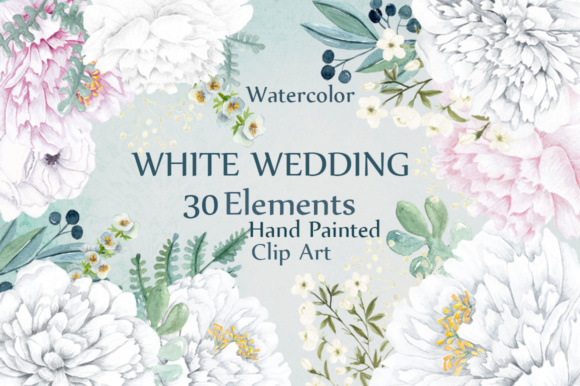 30 White Wedding Watercolor Clip Art Elements Graphic Illustrations By LeCoqDesign