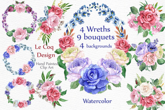 Watercolor Wreaths Clip Art Graphic Illustrations By LeCoqDesign
