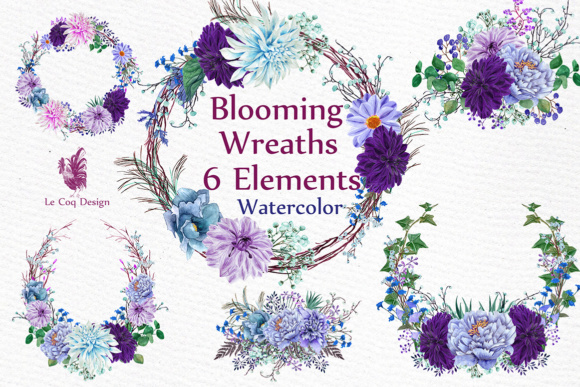 Watercolor Wreaths Clipart Graphic Illustrations By LeCoqDesign