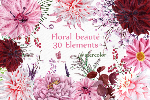 Watercolour Floral Clipart Graphic Illustrations By LeCoqDesign
