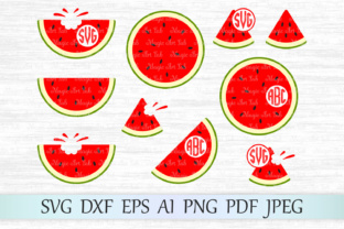 Download Free Watermelon Monograms Graphic By Magicartlab Creative Fabrica for Cricut Explore, Silhouette and other cutting machines.