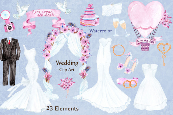 Wedding Dress Clipart Graphic Illustrations By LeCoqDesign