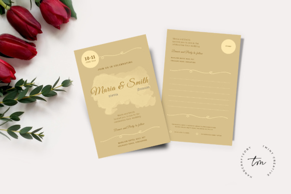 Wedding Invitation Cards Graphic Print Templates By TMint