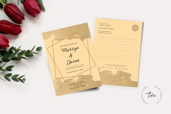 Wedding Postcard and Invitation Graphic Print Templates By TMint