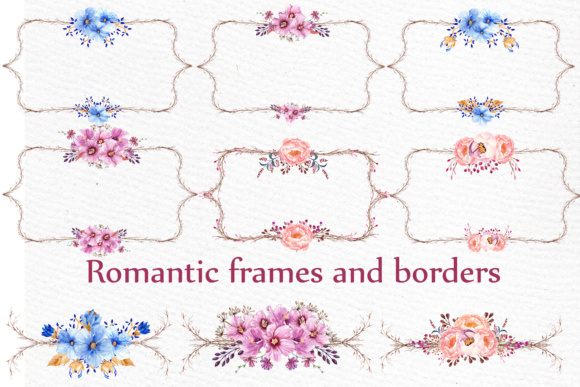Wedding Flower Frame Clipart Graphic Illustrations By LeCoqDesign