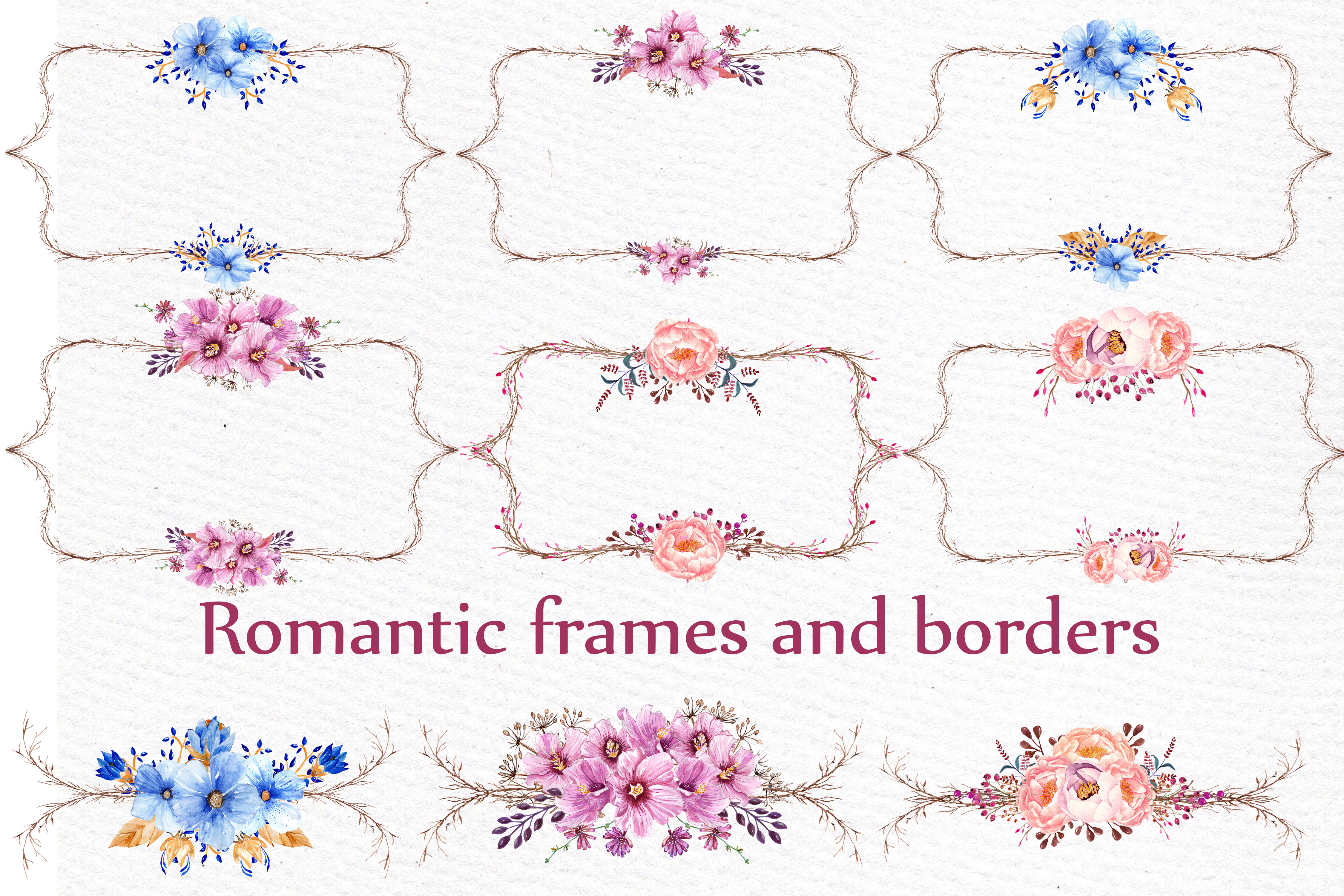 Download Free Wedding Flower Frame Clipart Graphic By Lecoqdesign Creative Fabrica for Cricut Explore, Silhouette and other cutting machines.