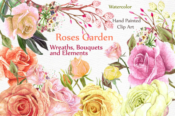Wedding Roses Bouquets Clipart Graphic Illustrations By LeCoqDesign