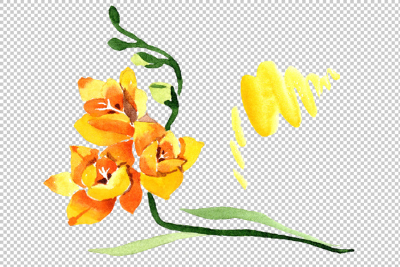 Print on Demand: Wildflower Yellow Freesia Watercolor Set Graphic Illustrations By MyStocks - Image 2