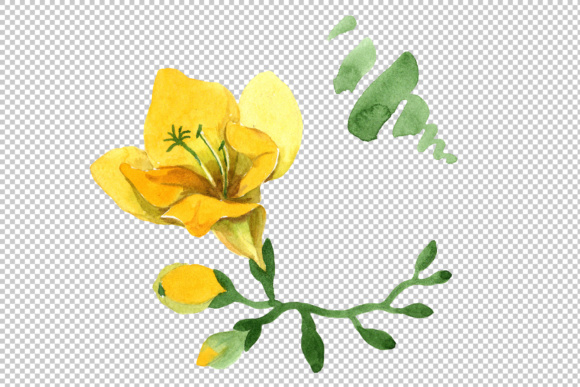 Print on Demand: Wildflower Yellow Freesia Watercolor Set Graphic Illustrations By MyStocks - Image 4