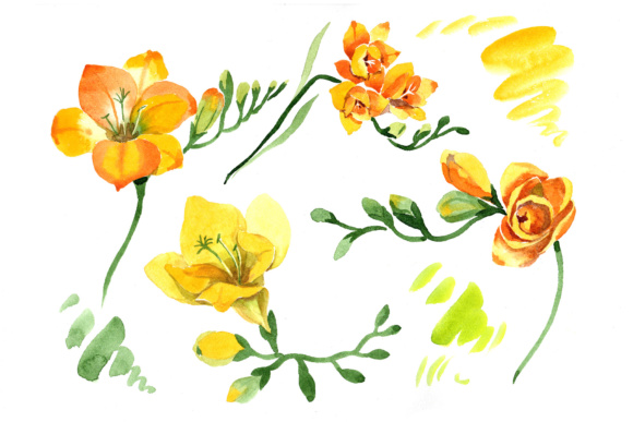 Print on Demand: Wildflower Yellow Freesia Watercolor Set Graphic Illustrations By MyStocks - Image 5