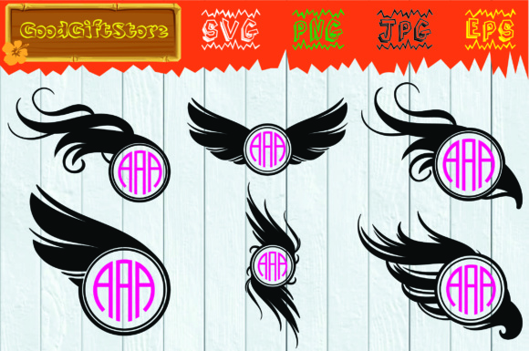 Download Free Wings Monogram Graphic By Piedesigner Creative Fabrica for Cricut Explore, Silhouette and other cutting machines.