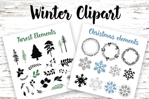 Winter Elements Clipart Graphic By switzershop