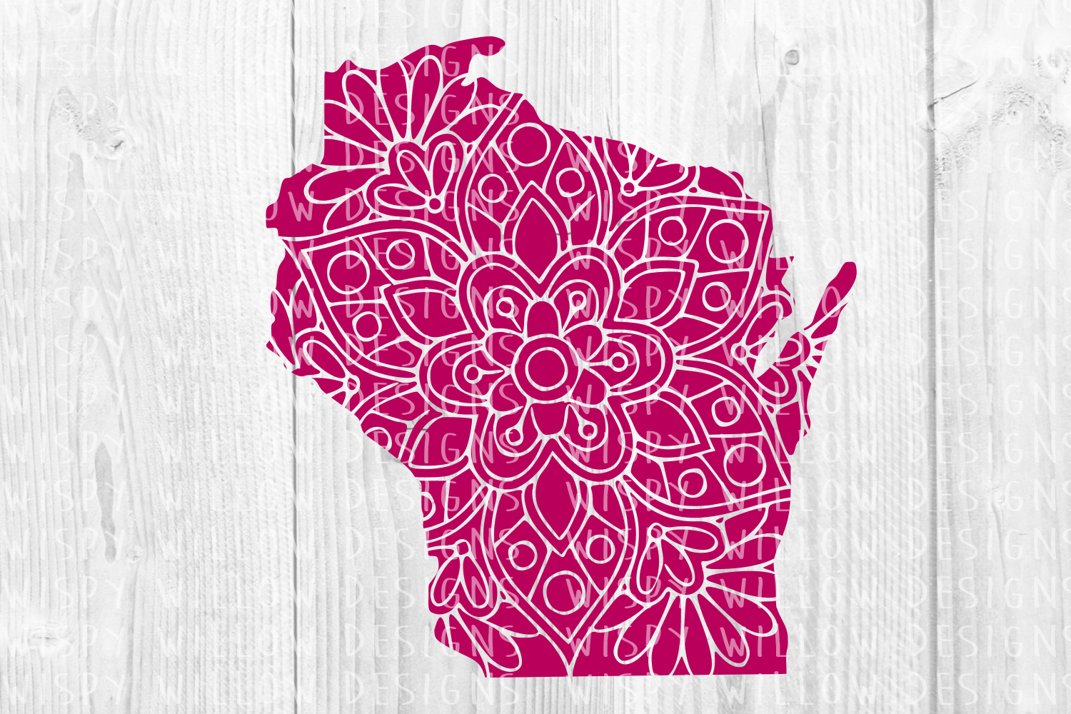 Wisconsin Wi Floral Mandala State Cut File Graphic By