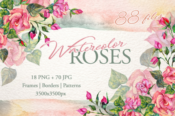 Print on Demand: Wonderful Pink Roses Watercolor Set Graphic Illustrations By MyStocks