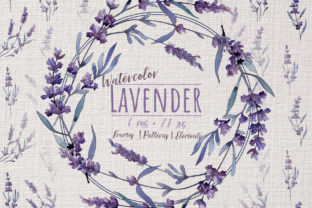Wonderful Violet Lavender PNG Watercolor Set Graphic By MyStocks
