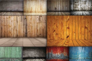 Print on Demand: Wood Backdrop Graphic Backgrounds By retrowalldecor