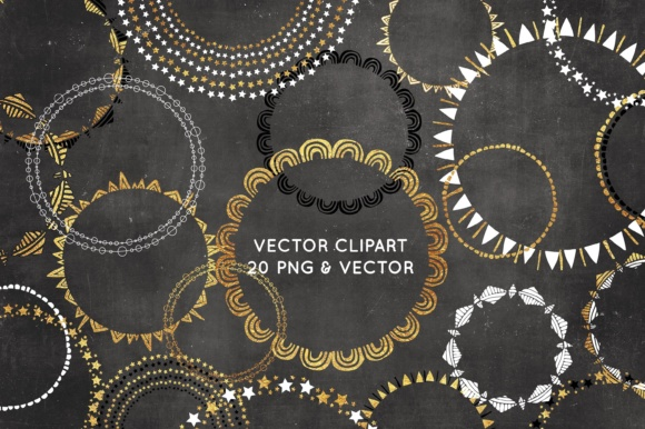 Print on Demand: Wreath Clipart - Black and Gold Graphic Illustrations By illuztrate
