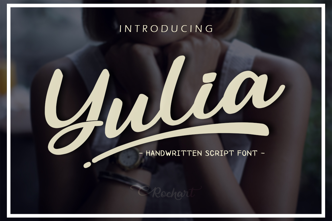 Download Free Yulia Font By Rochart Creative Fabrica for Cricut Explore, Silhouette and other cutting machines.