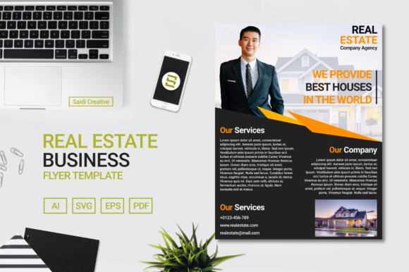 Real Estate Business Flyer Template Design (US Flyer Size | Editable File) Graphic Print Templates By Saidi Creative - Image 1