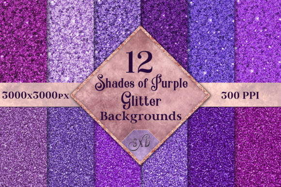 Print on Demand: Shades of Purple Glitter - 12 Background Images Graphic Backgrounds By SapphireXDesigns