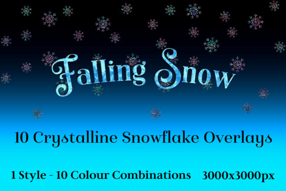 Print on Demand: Falling Snow - 10 Crystalline Snowflake Overlays Gráfico Objetos Por SapphireXDesigns