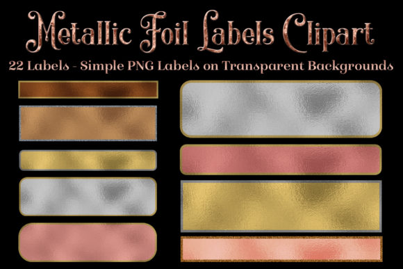 Print on Demand: Metallic Foil Labels Clipart Graphic Objects By SapphireXDesigns