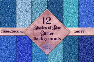 Shades of Blue Glitter - 12 Background Images Graphic By SapphireXDesigns