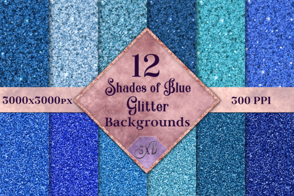 Print on Demand: Shades of Blue Glitter - 12 Background Images Graphic Backgrounds By SapphireXDesigns