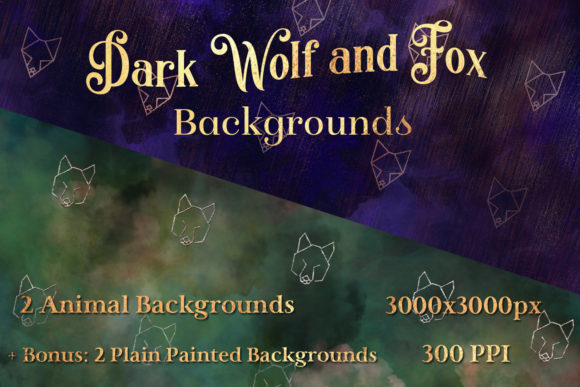 Dark Wolf and Fox Backgrounds - Image Set Graphic By SapphireXDesigns