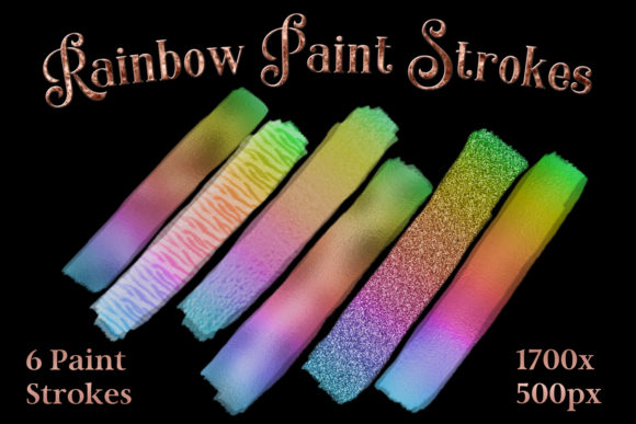 Print on Demand: Rainbow Paint Strokes - Set of 6 Brushstroke Images Graphic Objects By SapphireXDesigns