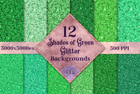 Print on Demand: Shades of Green Glitter - 12 Background Images Graphic Backgrounds By SapphireXDesigns