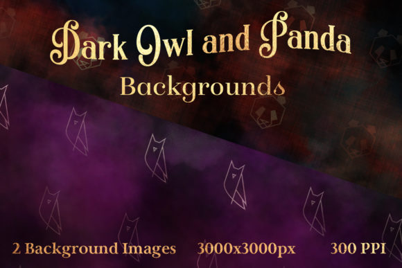 Print on Demand: Dark Owl and Panda Backgrounds - 2 Image Set Graphic Backgrounds By SapphireXDesigns