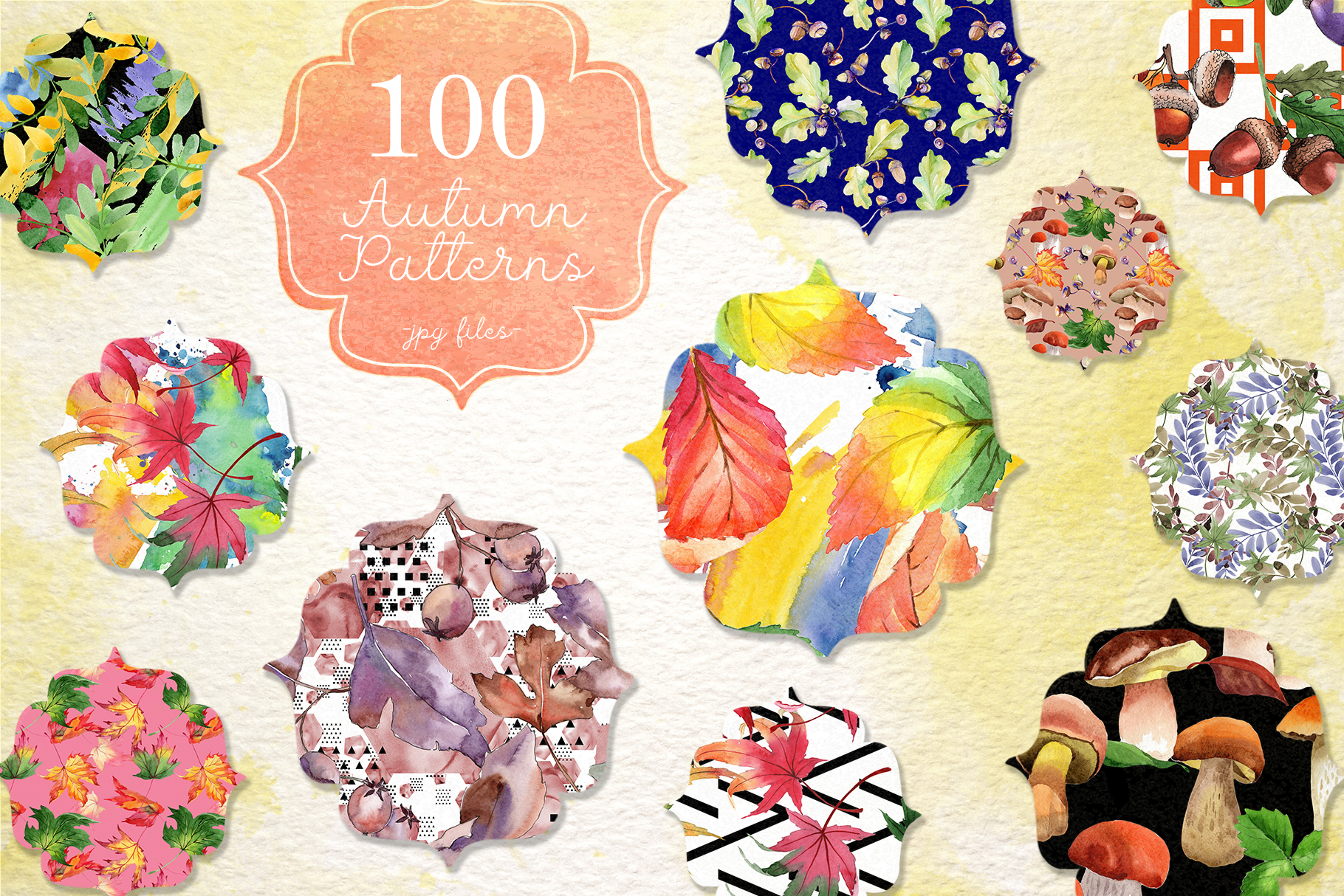 Download Free 100 Watercolumn Autumn Patterns Graphic By Mystocks Creative for Cricut Explore, Silhouette and other cutting machines.