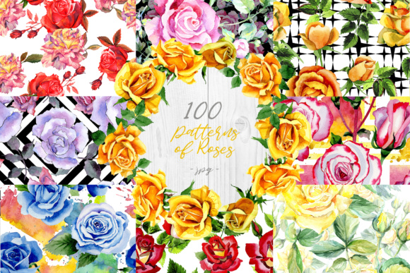 Print on Demand: 100 Patterns of Colorful Roses Watercolor Set Graphic Illustrations By MyStocks