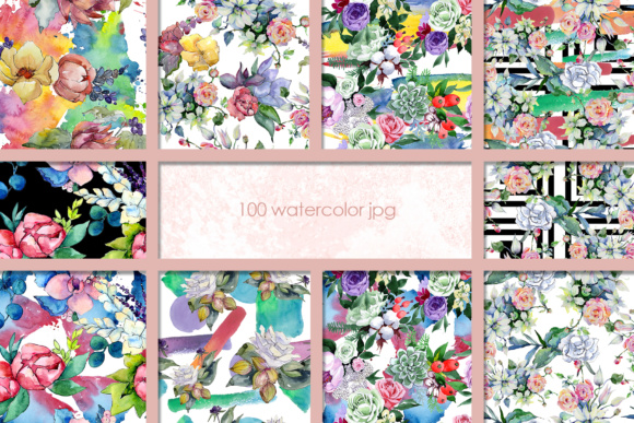 Print on Demand: 100 Watercolor Flower Bouquets Patterns Graphic Illustrations By MyStocks - Image 2
