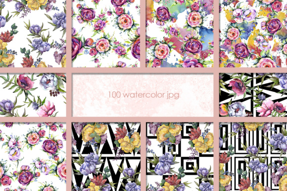 Print on Demand: 100 Watercolor Flower Bouquets Patterns Graphic Illustrations By MyStocks - Image 11