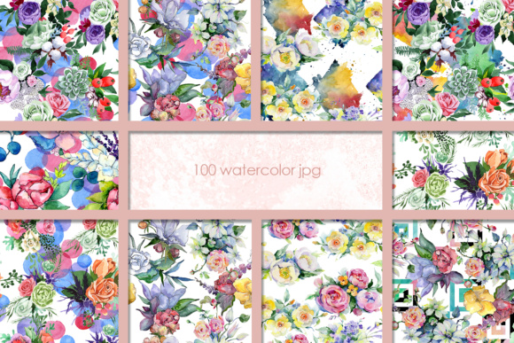 Print on Demand: 100 Watercolor Flower Bouquets Patterns Graphic Illustrations By MyStocks - Image 3